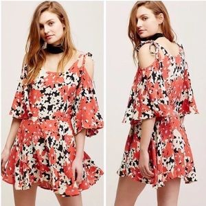Free People One Lucina Floral Cold Shoulders Dress
